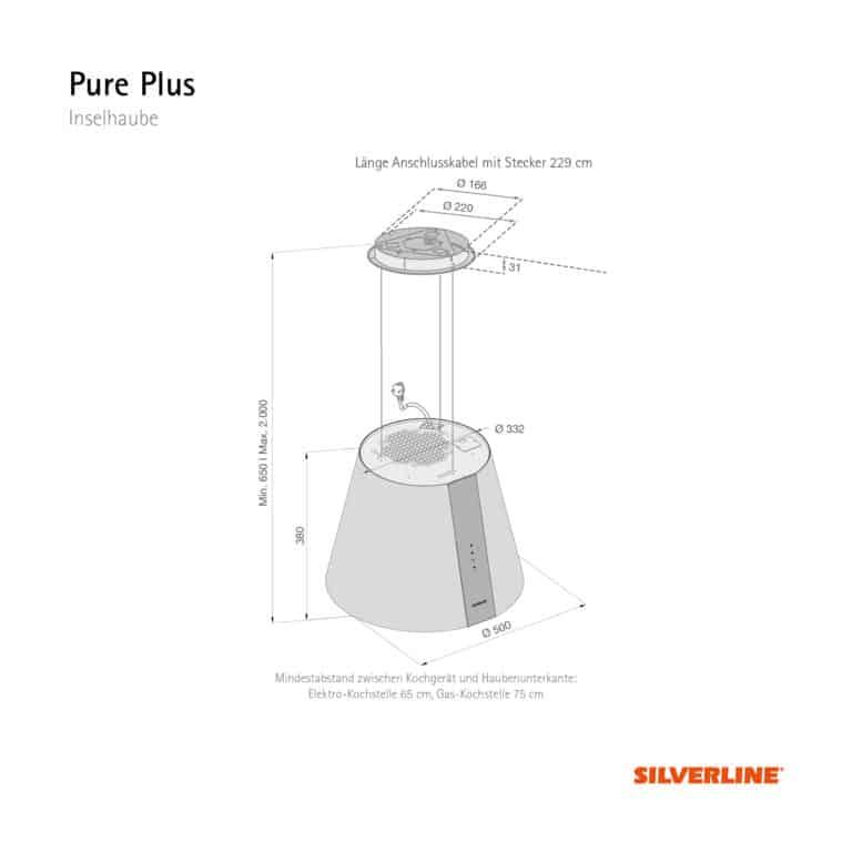 Maßzeichnung Pure Plus Mindestabstand zwischen Kochgerät und Haubenunterkante: Elektro-Kochstelle 65 cm, Gas-Kochstelle 75 cm