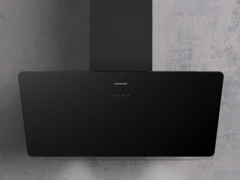Korpus Schwarz / Schwarzglas, schwarzer Schacht, 90 cm