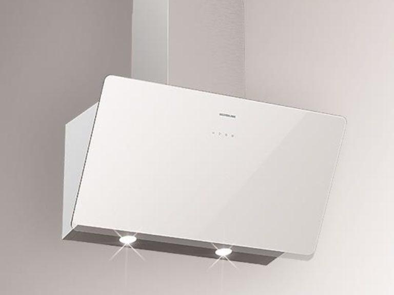Korpus Grau / Weißglas, Schacht Edelstahl, 90 cm