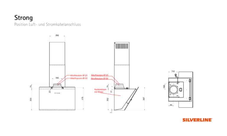 Position Luft- und Stromkabelauslass Strong